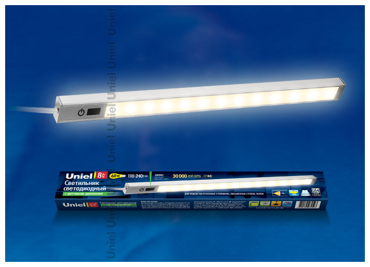 Светодиодный линейный светильник с датчиком движения Uniel ULM-F03-8W/WW/MS IP40 SILVER