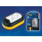 Фонарь Uniel S-CL014-C Yellow серии Стандарт «Solid Multifunctional Assistant», пластиковый корпус, 24+3 LED, упаковка - кламшелл, 3хAAA н/к, цвет – желтый