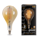 Светодиодная лампа Gauss LED Vintage Filament A160 8W E27 160*300mm Golden 2400K