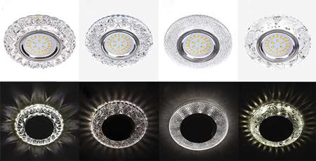новые светильники ECOLA MR16 с подсветкой оправы