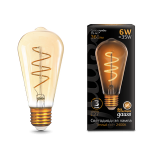 Светодиодная лампа Gauss LED Filament ST64 Flexible E27 6W Golden 2400К