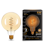 Светодиодная лампа Gauss LED Filament G120 Flexible E27 6W Golden 2400К