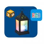 Волшебный фонарик UNIEL со светодиодной RGB гирляндой внутри на батарейках ULD-L1122-010/DTB/RGB/3D BLACK 11х22 см черный квадрат